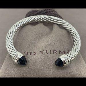 David Yurman 7mm Cable Bracelet Onyx & Diamonds💎